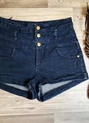 !стильные джинсовые шорты с высокой посадкой