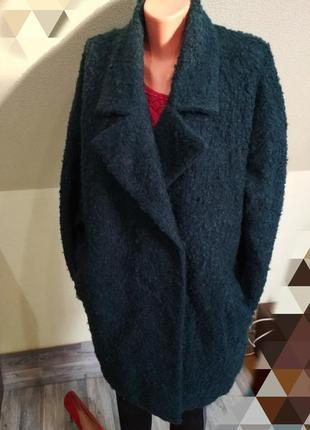 Стильное трендовое изумрудное зеленое пальто кокон оверсайз бо...