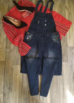 Стильный джинсовый комбинезон джинсы скинни