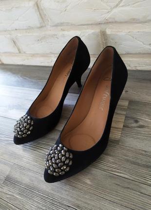 Шикарные замшевые кожаные туфли
