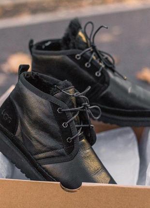 Ugg neumel black! мужские кожаные зимние угги/ сапоги/ ботинки...