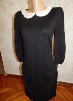 Next платье трикотажное с жемчужным воротником стильное модное р8