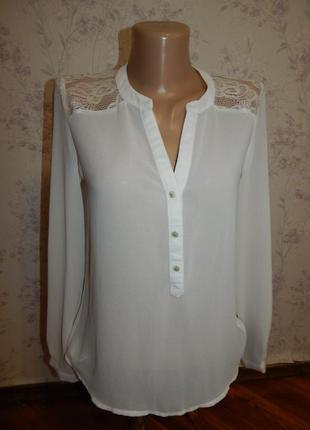 New look блузка полу-прозрачная с кружевніми вставками стильна...