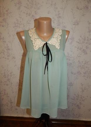Topshop блузка шифоновая полу-прозрачная стильная модная