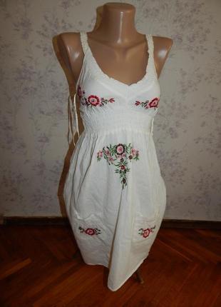 Crafted сарафан котоновый летний лёгкий стильный модный белый р8