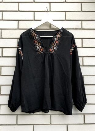 Красивая черная блуза с вышивкой,рубаха в этно стиле,вышиванка...
