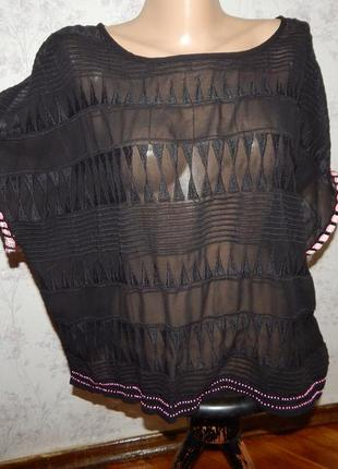 Next блузка шифоновая полу-прозрачная чёрная стильная модная р12