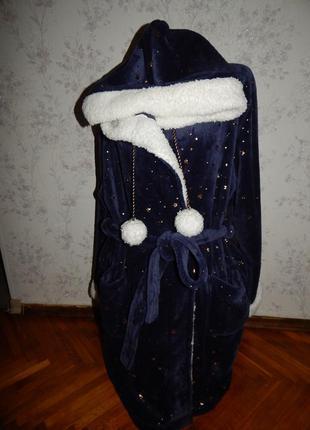 George халат плюшевый мягкий тёплый синий с капюшоном рxl