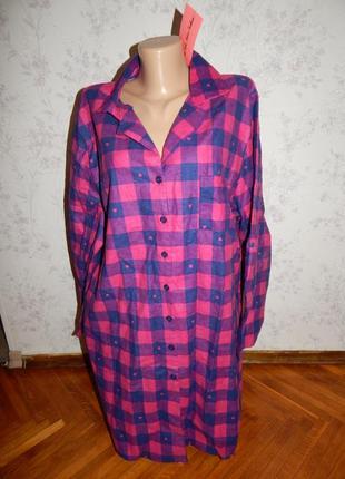 Adore халат-рубашка байковый в клетку р20-22 большой размер новый