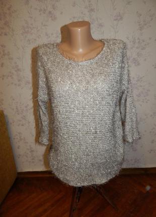 New look свитер женский, стильный, модный, светло-серый
