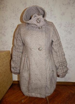 River island шикарное женское пальто с карманами 38% шерсть, с...