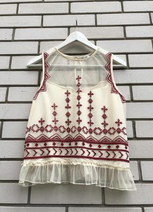 Блузка с вышивкой в этно бохо стиле вышиванка river island
