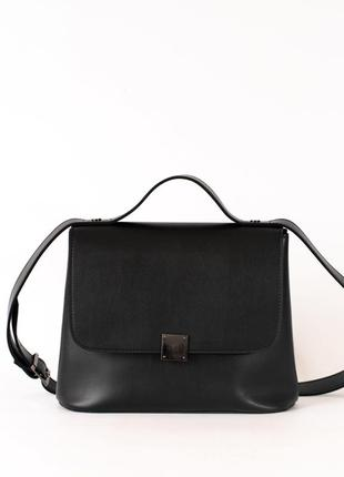 Черная женская сумка портфель через плечо