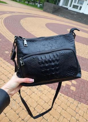 Кожаная сумка с тиснением черная, есть 2ручки❣