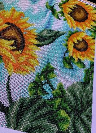 Картина вишита бисером, соняшники, картина вишита бісером.