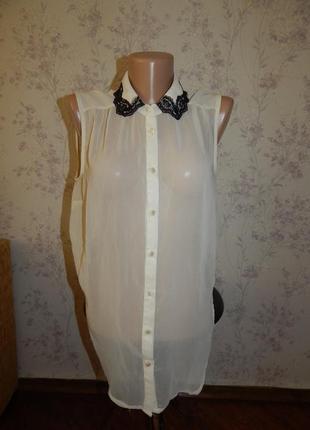 Atmosphere блузка шифоновая с гепюровым воротником стильная мо...