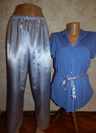 Indigo пижама вискозная кофта с атласными штанишками р12 новая...