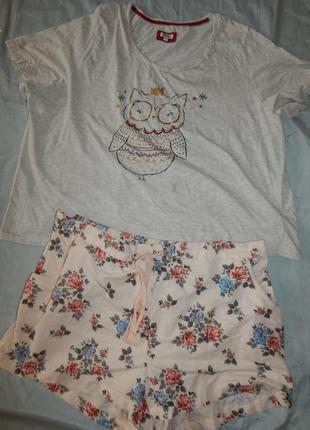 Пижама скомбинированная трикотажная футболка с байковыми шорти...