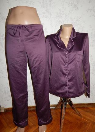 La senza пижама атласная фиолетовая рубашка со штанишками р10