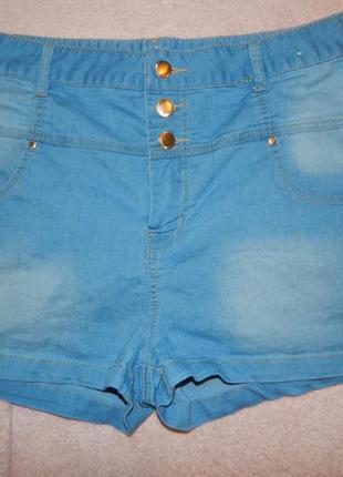 Denim co шорты джинсовые завышенная талия модные р 16