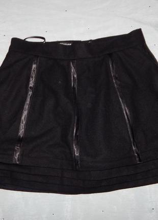 Warehouse юбка шерсть 47% женская с интересной отделкой. стиль...