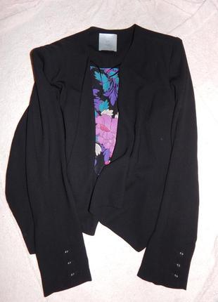 Tu пиджак укороченный без застежек легкий накидка болеро р 12