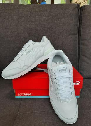 Кожаные белые кроссовки puma st runner 24см