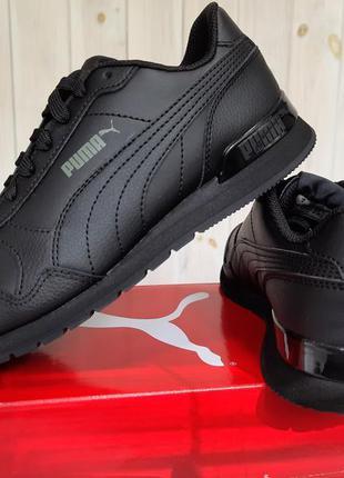 Кожаные черные кроссовки puma st runner 24см