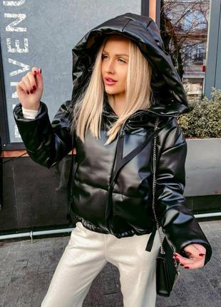 Супер цена🔥 куртка эко-кожа демисезонная с капюшоном