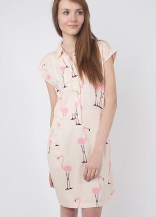 Платье с вискозы «розовые фламинго» от vero moda