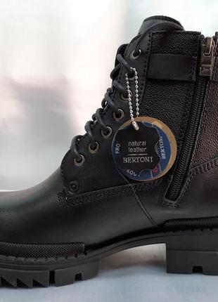 Скидка!зимние кожаные ботинки-берцы на молнии bertoni