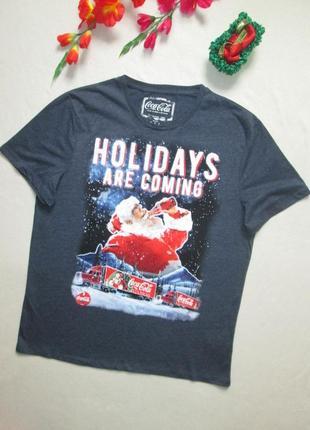 Суперовая меланжевая стрейчевая футболка в новогодний принт co...