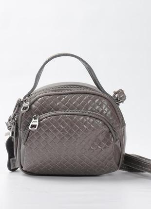 Кожаная сумка, клатч на длинной ручке серый (супер цена)