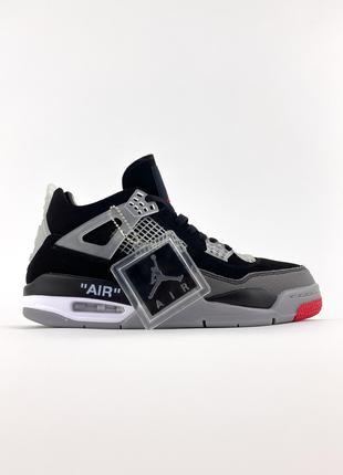 "Кроссовки Off-White x Air Jordan 4 ""Bred"" Black/Red 42"