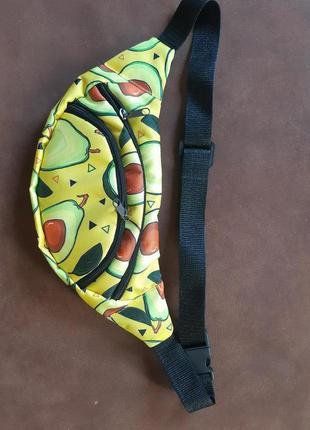 Яркая бананка,сумка на пояс,поясная сумка