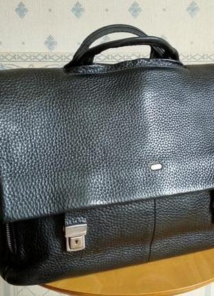 Вместительный портфель desisan мужской кожаный