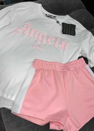 Уютный оверсайз комплект шорты и футболка