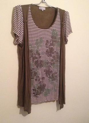 Блуза=футболка с накидкой /сплошная/ 22 р.