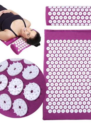 Масажний ортопедичний килимок з подушкою Acupressure Mat Ортопеди