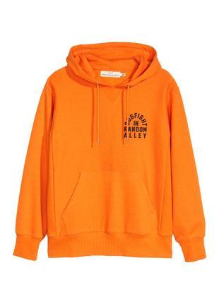 Оранжевая мужская кофта худи s,l