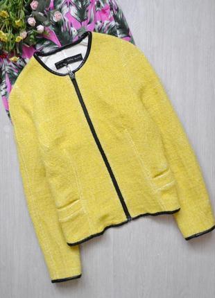 Красивая куртка жакет со вставками из кожзама zara