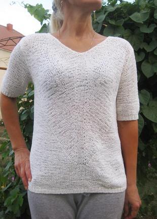 Джемпер белый с коротким рукавом вязаный