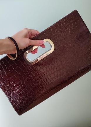+ подарок. тренд большой клатч сумка коричневая под кожу питон...