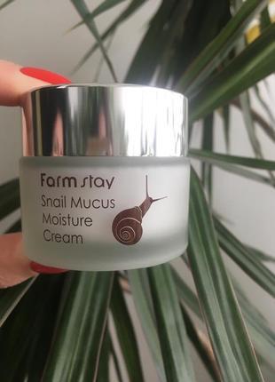 Увлажняющий крем с муцином улитки farmstay snail mucus moistur...