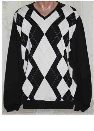 Джемпер свитер кофта черный в белый ромб dressmann