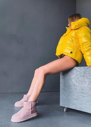 Ugg metallic mini! женские замшевые зимние угги/ сапоги/ ботин...