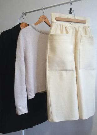 Шерстяная юбка миди осень-зима с накладными карманами, высокой...