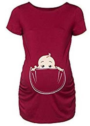 Классная стрейчевая футболка для беременных с малышом вискоза ...