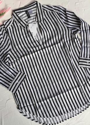 Полосатая рубашка нм h&m, черно белая рубаха в полоску, блузка...