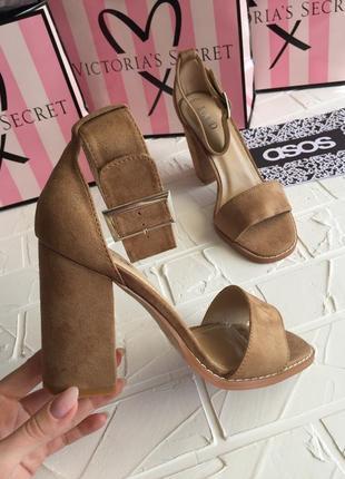 Новые нюдовые босоножки raid, бежевые босоножки туфли каблук asos